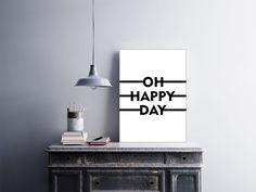 """Placa decorativa """"Oh Happy Day""""  Temos quadros com moldura e vidro protetor e placas decorativas em MDF.  Visite nossa loja e conheça nossos diversos modelos.  Loja virtual: www.arteemposter.com.br  Facebook: fb.com/arteemposter  Instagram: instagram.com/rogergon1975  #placa #adesivo #poster #quadro #vidro #parede #moldura"""