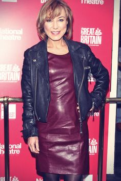 Sian Williams attends opening night of Great Britain held at the Theatre Royal Haymarket in London on Friday, September Sian arrived in a… Red Leather Dress, Leather Dresses, Leather Skirt, Leather Jacket, Sexy Older Women, Sexy Women, Celebrity Boots, Seventies Fashion, 70s Fashion