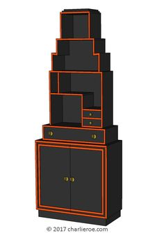 TDS - The Design Service - New Paul Frankl Art Deco Skyscraper style painted lacquered bookcase in black with red edges