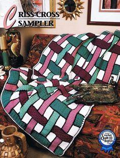 Criss-Cross Sampler   Annie's Attic  Crochet Afghan Pattern Instructions #AnniesAttic