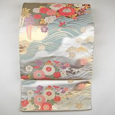 Silk fukuro obi / マット光沢の銀地の袋帯 http://www.rakuten.co.jp/aiyama #Kimono #Japan #aiyamamotoya