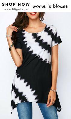 2f5efcec34 USD30.16 Printed Sharkbite Hem Round Neck Blouse  liligal  blouse  tshirt