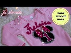 BODY MINNIE ROSA BORDADO COM PÉROLAS E STRASS - YouTube Body Minnie, Baby Sewing, Graphic Sweatshirt, Sweatshirts, Sweaters, Dresses, Youtube, Fashion, Pearl Embroidery