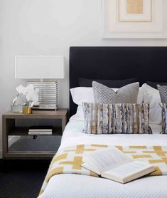 Finishing touches. A perfectly layered bedroom styled by Coco Republic Interior Design with the Paola Table Lamp, Reflective Mood Art and Richard Nixon Throw. #CocoRepublic #interiordesign #JonathanAdler