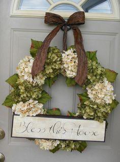 Spring Hydrangeas, Front Door Wreaths, Traditional Wreaths, Spring Wreaths, Peony Wreaths, wreaths, Door Wreaths, Brand New Day Designs