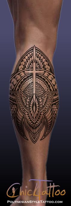 Cross Polynesian Style Calf Tattoo Design