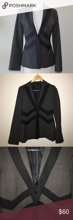 "BCBGMAXAZRIA Blazer Dark gray pinstripe Blazer with black banded details. Single button closure. One front chest pocket. Two interior pockets. Wool/polyester/spandex blend. Lining is polyester/viscose blend. Longer for: shoulder to hem is 25"".   Instagram: @bringingupsuns BCBGMaxAzria Jackets & Coats Blazers"