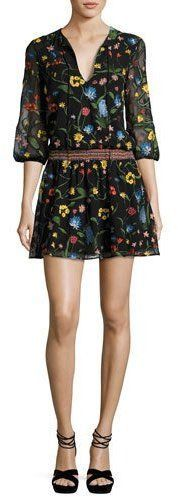 Alice + Olivia Jolene Split-Neck Smocked-Waist Mini Dress, Multicolor Alice Olivia, Floral Embroidery, A Line Skirts, Smocking, Bodice, Luxury Fashion, Pullover, Mini, Sleeves