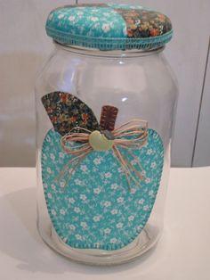 artesanato em vidro potes vidro | pote de vidro patchwork em tecido pote para mantimentos pote de vidro ...
