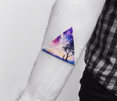 Triangular Surreal Watercolor Tattoo by Vitaly Kazantsev