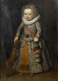 Cornelis de Vos (1584–1651) Portrait of a Young Girl in an embroidered dress, carrying a basket of cherries and accompanied by a dog 1622