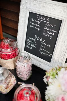 chalk board picture frame numbers- also like this idea for listing the menu