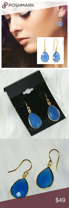 """6ct Blue Chalcedony Teardrop Earrings New/Carded  These earrings are crafted in 18k gold overlay & contain faceted pear shape natural blue chalcedony gemstones for a total weight of 12 carats! The french hooks give them an approx 1/2"""" drop. Gorgeous & perfect for any occasion.  Check my page for more items to bundle with! #oneinamillionjillian Jewelry Earrings"""