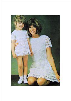 Vintage Crochet Pattern PDF  Mother and Daughter Couture Mini Midi or Maxi Dress  Retro. £1.75, via Etsy.