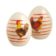 Chicken Eggs Salt and Pepper Shakers by Midwest. $10.95. Midwest. 2 piece set.. Ceramic. Measures 5 3/4 X 3 1/4 X 4 inches. Open stock no gift box. Very cute and decorative chicken themed egg  salt and pepper shakers bring freshness to your kitchen or tabletop.   Makes a great gift too.