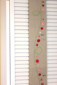 Girl's Growth Chart. Fabric Lime Green Pink for Children's Nursery.