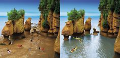 The Bay of Fundy's Hopewell Rocks are a must-see during any Maritime Ferry Trail vacation! Hopewell Rocks, New Brunswick, Nova Scotia, Maine, Trail, Road Trip, Vacation, Water, Outdoor