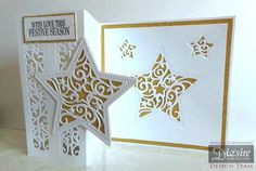 Z Fold Card made using Crafter's Companion Die'sire Christmas Cut In Create-A-Card - Shine Bright. Designed by Angela Clerehugh Christmas Cards To Make, Christmas Themes, Handmade Christmas, Christmas Crafts, Paper Cards, Folded Cards, Crafters Companion Christmas Cards, Winter Karten, Star Cards