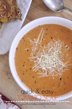 Quick & Easy Tomato Soup uses canned soup but tastes like homemade! @yourhomebasedmom.com