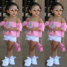 2018 Baby Girls Blouses Fashion Toddler Infant Baby Kids Girls Off-shoulder Shirt Tops Casual Summer Clothes Cute Little Girls Outfits, Dresses Kids Girl, Kids Outfits Girls, Toddler Girl Outfits, Kids Girls, Baby Outfits, Toddler Dress, Cute Kids Fashion, Little Girl Fashion