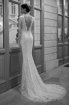 We love the beautiful back view of this long sleeves lace wedding dress. Berta, Winter 2014