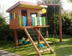 Children's playhouse in the garden swing, wooden house, playhouse (Outdoor Diy Projects) Source by Diy Playground, Playground Design, Children Playground, Build A Playhouse, Playhouse Outdoor, Kids Outdoor Play, Backyard For Kids, Outdoor Toys, Nice Backyard