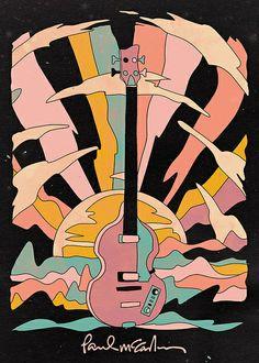 To Play Bass Guitar Instruments Bass Guitar Shape Plays Info: 6499105082 Les Beatles, Beatles Art, Music Drawings, Art Drawings, Art Sketches, Paul Mccartney, Guitar Drawing, Bass, Music Illustration