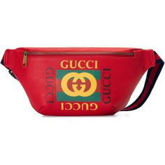 Gucci Print Leather Belt Bag ($1,290) ❤ liked on Polyvore featuring bags, red, belt bag, red fanny pack, red bag, leather fanny pack and gucci bags