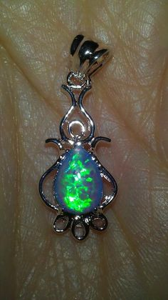 MYSTICAL & GORGEOUS BLUE FIRE OPAL STERLING SILVER NECKLACE & PENDANT SET~FREE SHIPPING