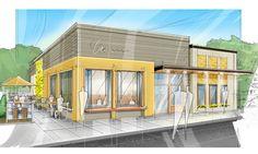 Exterior restaurant design 1000 images about restaurant exterior on Restaurant Exterior Design, Modern Restaurant Design, Cafe Exterior, Rustic Exterior, Restaurant Interiors, Modern Exterior, Restaurant Entrance, Veg Restaurant, Building Exterior