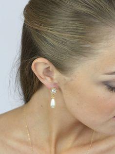 Gold+bridal++pearl+earrings+bridal+gold+++by+LavenderByJurgita,+$42.00