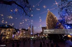 A general view of one of the main squares with lit with Christmas lights on December 2, 2015 in Ljubljana, Slovenia. Ljubljana got into festive spirit as Christmas lights were switched on across the city centre and a Christmas market opened in the streets of the Old Town.