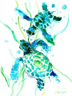 Sea Turtle Print featuring the painting Turquoise Indigo Sea Turtles by Suren Nersisyan