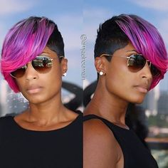 "STYLIST FEATURE| #MiamiStylist @IamJaelRoumain slayed this #pixiecut ✂️ with #mermaid hair color ""Life is too short to have boring hair"" #VoiceOfHair ======================== Go to VoiceOfHair.com =========================Find hairstyles and styling tips! ========================="