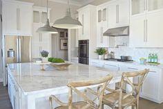 """white modern kitchen zdesignathome - wall (Sherwin Williams """"On the rocks"""")"""
