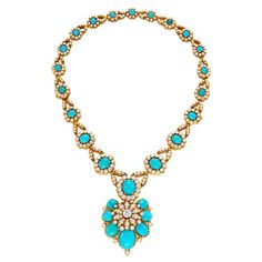 Van Cleef & Arpels, Turquoise and Diamond Necklace, centering upon an oval cabochon turquoise panel to the series of turquoise and diamond clusters, spaced by circular-cut diamond links with gold wiretwist detail, to a similar backchain, mounted in platinum and gold, may also be worn as a bracelet. Signed Van Cleef & Arpels.