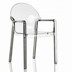 Sedia impilabile con braccioli Tosca di Magis - policarbonato lucido trasparente neutro