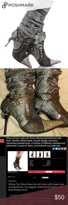 Wild Rose designer jeweled knee high boots sz 9 These boots are amazing! Fabulous jeweled knee high boots! In great condition. No exterior flaws but there is a small hole inside that can not be seen and does not effect wear. Euc by wild rose. Buckle Shoes Heeled Boots