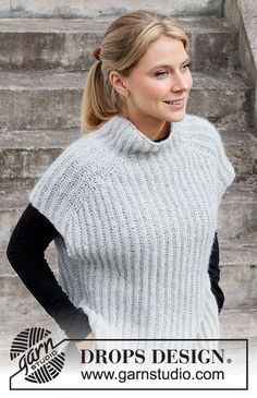 Easy Over / DROPS 217-13 - Free knitting patterns by DROPS Design Sweater Knitting Patterns, Knitted Poncho, Knitting Designs, Free Knitting, Knit Vest Pattern, Wrap Pattern, Drops Design, Gilet Mohair, Magazine Drops