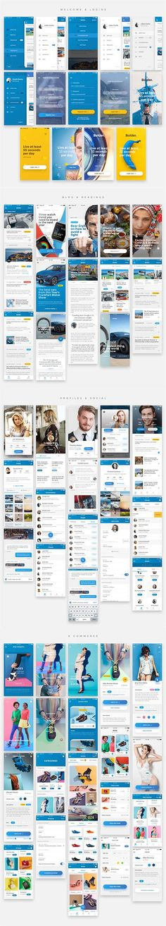 Bolder UI Kit - 65 Ready-to-go mobile UI templates This amazing package of 65 HQ Mobile Templates will revolutionize the way you create the next mobile project. With Ready-to-use templates Mobile Project, Ui Kit, Mobile Ui, Ready To Go, In This Moment, Templates, Stencils, Vorlage, Models