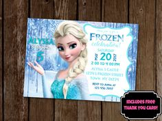 A super fun Frozen Elsa themed birthday invitation! Print at home or at most photo labs, saving you time and money! These are also so perfect to use online, such as on Facebook events for your party! Please see below for IMPORTANT information on how to order this invitation!  This listing includes: DIGITAL FILE ONLY - no physical items will be shipped. - 5x7 PDF Invitation file. (Need a different format or size? No problem! Include your request in the comments at checkout.) - FREE Digital…