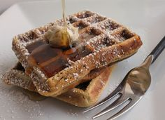 gingerbread pumpkin waffles; the texture of these waffle are a cross between tender and dense; the pumpkin puree adds moisture and sweetness