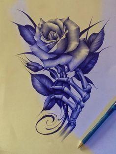 Rose Drawing Tattoo, 4 Tattoo, Tattoo Design Drawings, Tatoo Art, Flower Tattoo Designs, Tattoo Sketches, Flower Tattoos, Skull Rose Tattoos, Body Art Tattoos