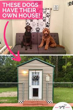 You Need to See this Amazing Custom Dog House ⋆ Wear Wag Repeat Outside Dog Houses, Outside Dogs, Large Dog House Plans, Build A Dog House, House Dog, Insulated Dog House, Outdoor Heated Dog House, Outdoor Dog Houses, Insulated Dog Kennels