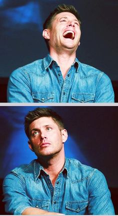 Jensen in laugh mode and thinking mode <3 Also I really like him in this blue!