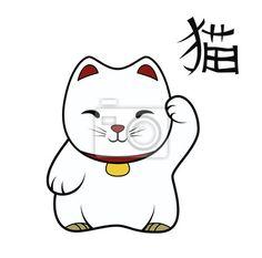 Vinilo tribal, juguete, gato, chino, suerte, afortunado, oro, simbólico, fortuna, bueno.