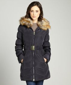 Laundry by Shelli Segal : mystic blue belted three quarter coat removable faux fur trim collar coat : style # 323666302