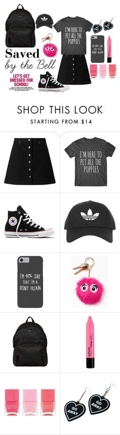 """""""• Saved By The Bell •"""" by fashion-fields-forever ❤ liked on Polyvore featuring Miss Selfridge, Converse, Topshop, Disney, Kate Spade, Hogan, Nails Inc. and Witch Worldwide"""