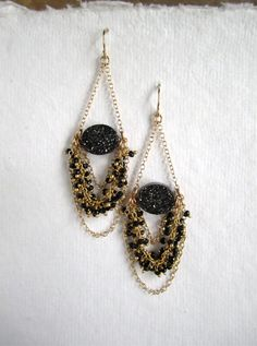 Druzy Earrings Drusy Quartz Black Spinel by julianneblumlo on Etsy, $148.00