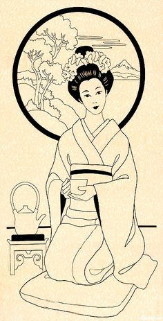 "ANGEIACR  Graceful Geishas - Tea Ceremony Geisha - Cream - 24"" x 44"" PANEL"